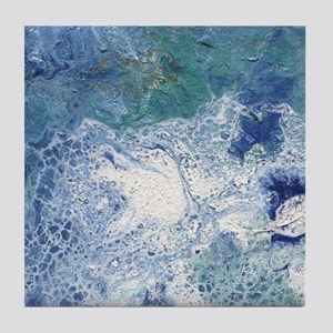 Blue Granite Abstract Tile Coaster
