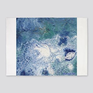 Blue Granite Abstract 5'x7'Area Rug