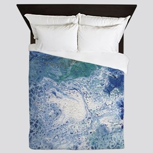 Blue Granite Abstract Queen Duvet