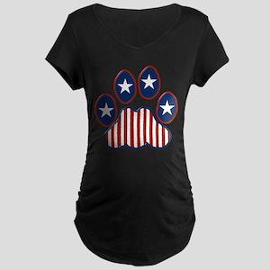 Patriotic Paw Print Maternity Dark T-Shirt