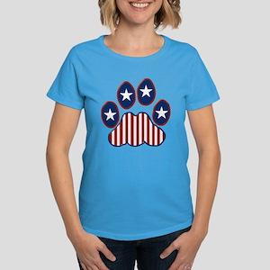 Patriotic Paw Print Women's Dark T-Shirt