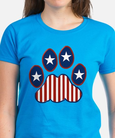 Patriotic Paw Print Women's Dark T-Shirt