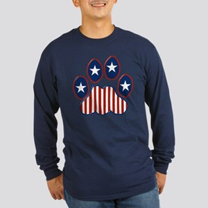 Patriotic Paw Print Long Sleeve Dark T-Shirt