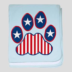 Patriotic Paw Print baby blanket