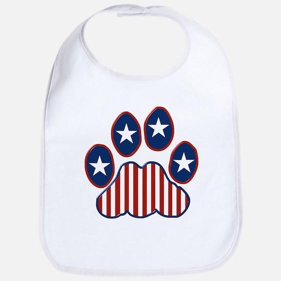 Patriotic Paw Print Bib