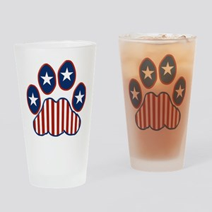 Patriotic Paw Print Drinking Glass