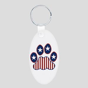 Patriotic Paw Print Aluminum Oval Keychain