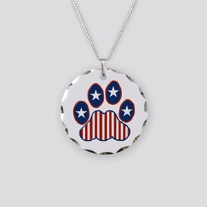 Patriotic Paw Print Necklace Circle Charm