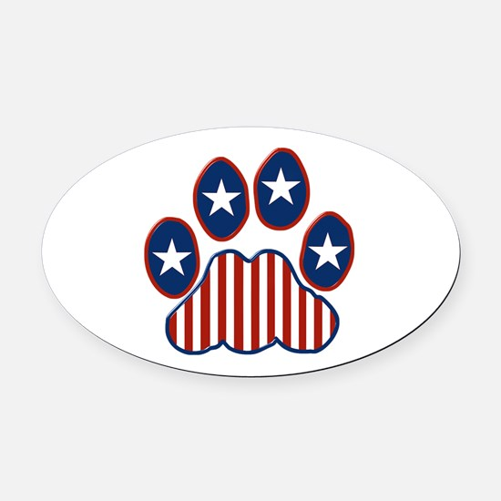 Patriotic Paw Print Oval Car Magnet