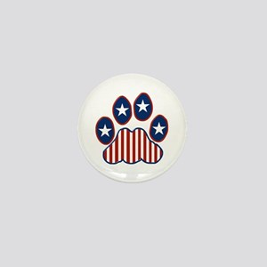 Patriotic Paw Print Mini Button