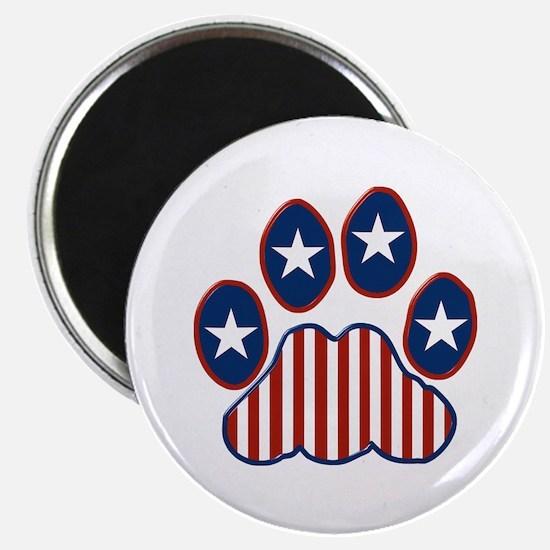 "Patriotic Paw Print 2.25"" Magnet (100 pack)"