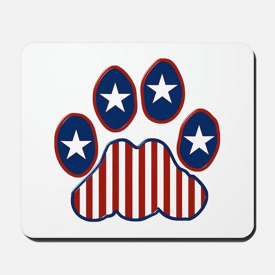Patriotic Paw Print Mousepad