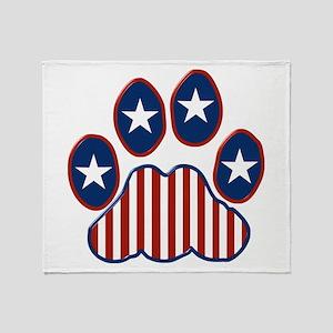 Patriotic Paw Print Throw Blanket