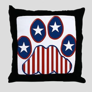 Patriotic Paw Print Throw Pillow