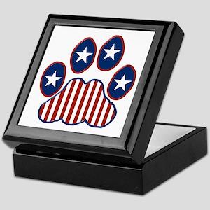 Patriotic Paw Print Keepsake Box
