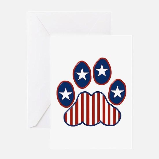 Patriotic Paw Print Greeting Card