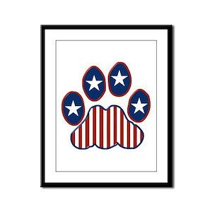 Patriotic Paw Print Framed Panel Print