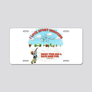 I Love Sport Shooting Aluminum License Plate