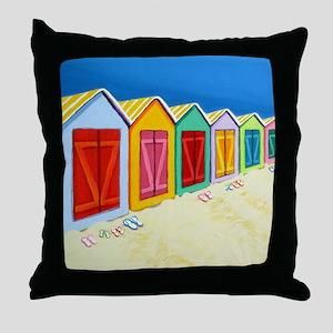 Cabana Row Beach Huts Throw Pillow