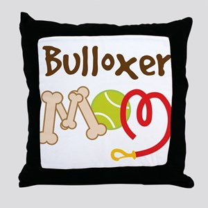 Bulloxer Dog Mom Throw Pillow