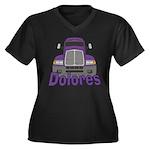 Trucker Dolores Women's Plus Size V-Neck Dark T-Sh