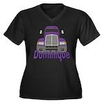Trucker Dominique Women's Plus Size V-Neck Dark T-