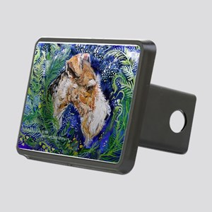 Fox Terrier in Blue Rectangular Hitch Cover