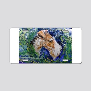 Fox Terrier in Blue Aluminum License Plate