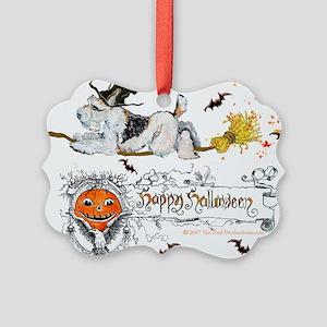 Halloween Fox Terrier Picture Ornament