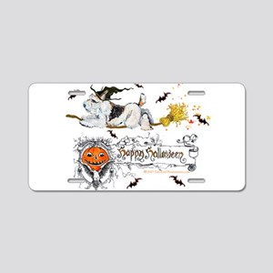 Halloween Fox Terrier Aluminum License Plate
