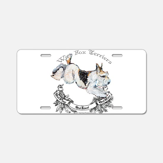 Fox Terriers Outlast! Aluminum License Plate