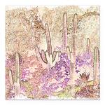 Wild Saguaros Square Car Magnet 3