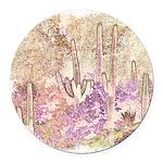 Wild Saguaros Round Car Magnet