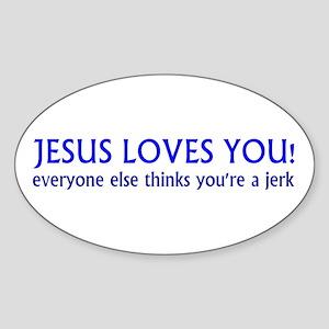 Jesus Loves - Sticker (Oval)
