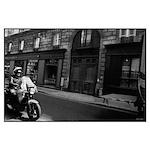 motorcycle in Paris Poster