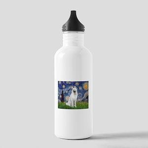 Starry-White German Shepherd Stainless Water Bottl