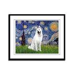 Starry-White German Shepherd Framed Panel Print