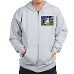 Starry-White German Shepherd Zip Hoodie