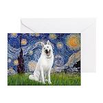 Starry-White German Shepherd Greeting Cards (Pk of