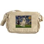 Starry-White German Shepherd Messenger Bag