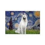 Starry-White German Shepherd Rectangle Magnet
