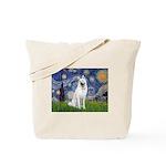 Starry-White German Shepherd Tote Bag