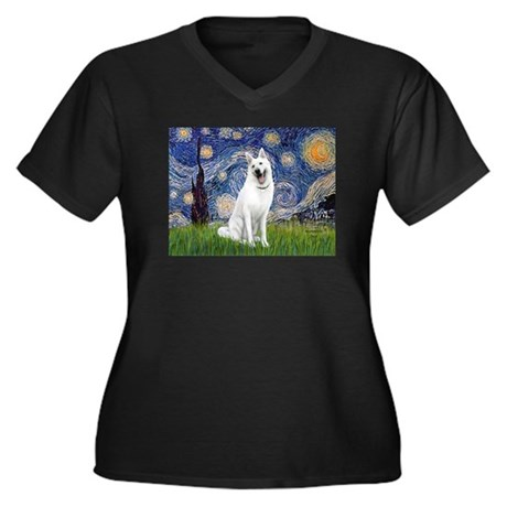 Starry-White German Shepherd Women's Plus Size V-N