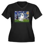 Starry-White German Shepherd Women's Plus Size V-N