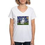 Starry-White German Shepherd Women's V-Neck T-Shir