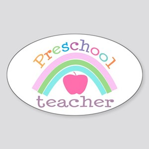 Preschool Teacher Oval Sticker
