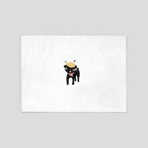 Trumped black pug 5'x7'Area Rug
