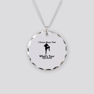 Muay Thai Is My Superpower Necklace Circle Charm