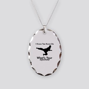 Taekwondo Is My Superpower design Necklace Oval Ch