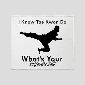 Taekwondo Is My Superpower design Throw Blanket